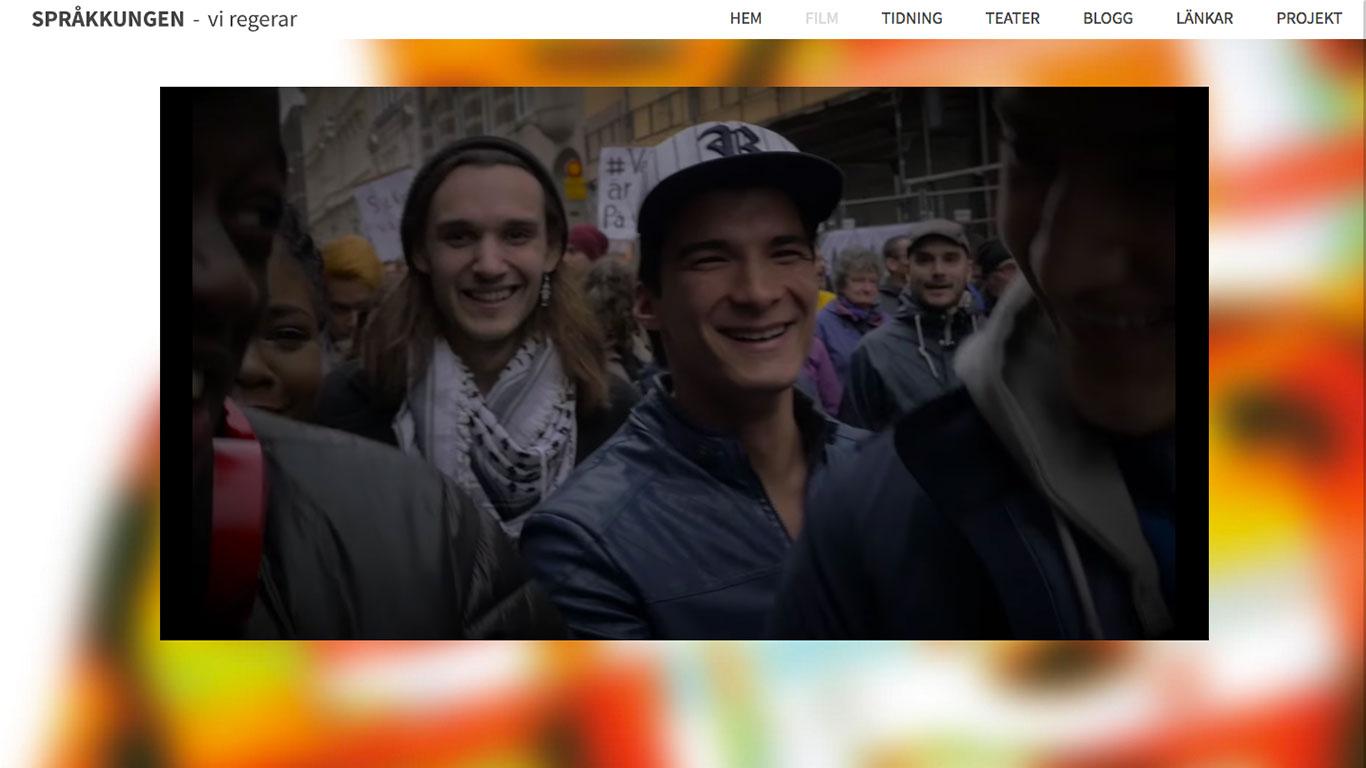 webbsida Sprakkungen Bara dårar rusar in musikvideo