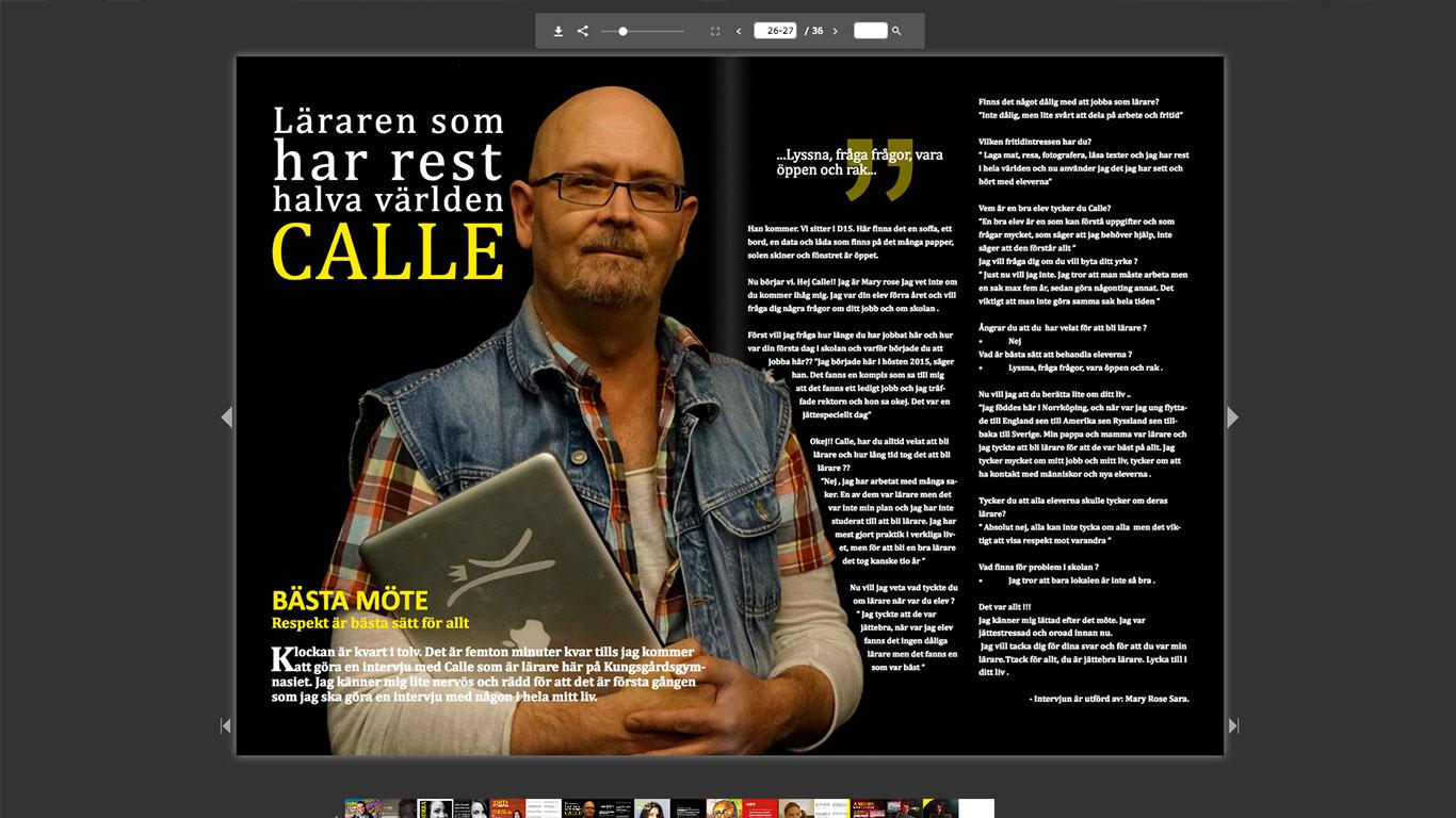 Sprakkungen Tabula rasa tidning med Calle